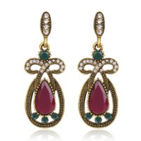 ,studs Famous ethnic style, fashionable, small and retro alloy inlaid with diamonds, multi-color gem earrings for women