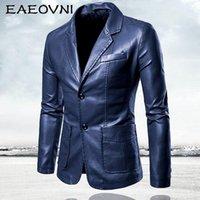Men's Jackets EAEOVNI Mens Leather Blazer Jacket Slim Fit Busniess Outwear Spring Autumn Men Coat Casual Brand Clothing