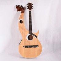 Fühlen Sie den Doppel-Hals 6 + 6 + 8 Saiten Akustische elektrische Harfe Gitarre mit EQ