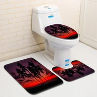 Toilet Seat Covers Simplicity Cover 3Pcs Set Carpet Modern Decoration Bathroom Entrance Water Absorption Anti-Slip Printing Pattern Rug