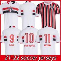 2021 2022 Sao Paulo Fußball Jersey Mann Pato Igor Gomes Dani Alves Football Hemden Hernanes Brenner Luan Pablo Luciano Uniformen Camisa de SPFC 21/22 Top Thai