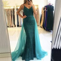 Party Dresses Mermaid Evening Dress With Overskirt Beaded Lace Spaghetti Straps 2021 Fashion Floor Length Prom Gowns Formal Occasion