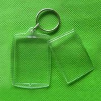 새로운 1pcs 사각형 투명한 빈 아크릴 삽입 사진 그림 프레임 열쇠 고리 키 체인 DIY 분할 링 열쇠 고리 선물