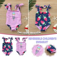 One-Pieces Toddler Kids Swimwear For Girls Baby Sleeveless Ice Cream Print Double-sided Wearable Swimsuit Maillot De Bain Enfant Fille E1