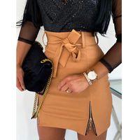 Skirts 2021 Women PU Leather Pencil Ladies Bodycon High Waist Stretch Zipper Bow Solid Mini Skirt Oversize S-XXL
