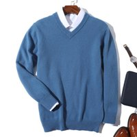 Men's Sweaters Super 100% Cashmere Sweater Men Pullover 2021 Autumn Winter Warm Classic V-neck Male Jumper Jersey Hombre Pull Homme