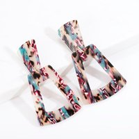 Trendy Colorful Print Brinco Acetate Board Acrylic Earrings Elegant Drop Design Female Jewelry Wholesale Oorbellen Dangle & Chandelier
