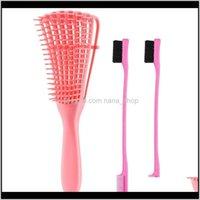 Escovas 3 peças Detangling Set com escova de borda dupla face, cabelo der para Afro América texturizada 3a a 4c Kinky ondulado J8J12 AELU