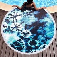 Mikrofiber Artı Püskül Yuvarlak Plaj Banyo Havlusu Yoga Mat Tie-Boya Serisi HWF6032