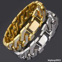 Cuban Link Bracelet For Mens Iced Out Hip Hop Bracelets Gold Silver Plating Bangle Zircon Chains