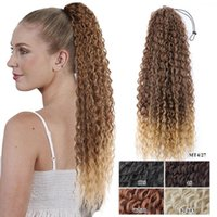 Synthetic Wigs Long Straight Drawstring Ponytail Hair Fake Pony Tail 140G 30Inch Afro Puff Ponytails With Elastic Band