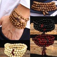 108 perle 8mm Natural Sandalo Boddhist Buddhist Boddha Prayer Beaded Knot Nero Ebano Unisex Men Braccialetti Braccialetti per le donne