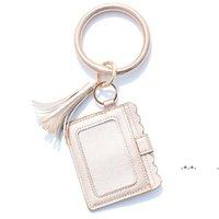 Party Gifts Designer Bag Wallet Leopard Print PU Leather Bracelet Keychain Wallets Credit Card Tassels Key Ring Holder Wristlet EWA8650