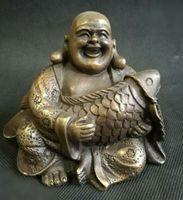 Китайский медный буддизм Fengshui рыба деньги богатство улыбка Maitreya статуя Будды