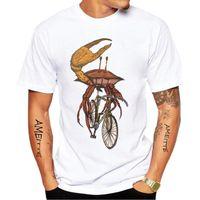 Camisetas para hombres manga corta traviesa inteligente cangrejo de cangrejo fijo engranaje bicicleta impresión divertida camiseta diseño animal tops casuales hip hop boy white tees