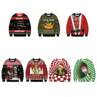 Womens Plus Size Hoodies Sweatshirts Ugly Christmas Sweater For gift Santa Elf Funny Pullover Mens Jerseys and Sweaters Tops Autumn Winter Clothing