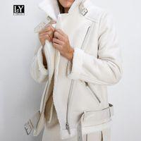 LY Varey Lin зима из искусственной ягненка из искусственной ягненка кожаная куртка женская искусственная кожа из искусственной кожи ягнят шерсть меховой воротник PU мото-молния куртка теплый толстый верхняя одежда