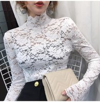 Elegant Women White Lace Blouse Sexy See Through Female Office Shirts Long Sleeve Turtleneck Ladies Tops Blusas Femininas Women's Blouses &