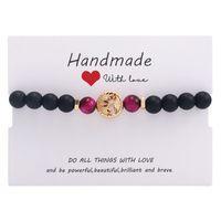 Fashion Bouddha Head Charm Bracelet Life Mignon Arbre Matte Noir Pierre Perles Bracelet Bracelets Hématite Pour Femmes 127 J2