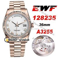 Designer Watches EWF Date 36mm A3255 Automatic Mens Watch 128235 White Dial Rome Markers Rose Gold Steel Bracelet HWRX With Warranty Card