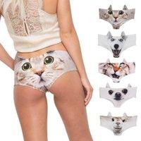 Suits de duas peças roupas underwear feminina 3d gato digital Canties calcinha respirável cintura baixa sexy lingerie soft confortável cuecas g-string tanga