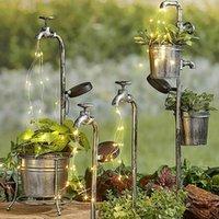 태양 정원 빛 LED 태양 물 수도꼭지 빛 금속 가든 스테이크 빛 화분 램프 가든 잔디 램프 태양 광 옥외 장식