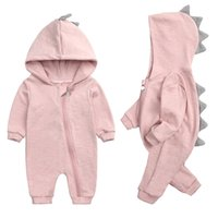 Spring Kids Tales born Baby Romper Suit Solid Hooded Dino Boys Girls Cotton Babywear 4 Colours 211008