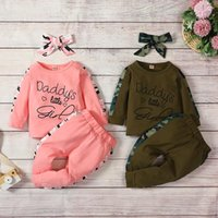 kids Clothing Sets girls boys outfits Children Letter printing Tops+Camouflage pants+Headband 3pcs set Spring Autumn Boutique fashion baby clothes