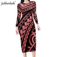 Günlük Elbiseler Jobherelook Sonbahar Uzun Kollu Kalem Elbise Ofis Lady Için Vintage Poly Tribal Samoa Baskı Kadın Bodycon Midi Partisi