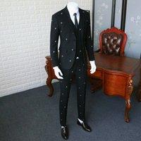المضادة للتجاعيد البدلة السترة يتأهل / رجل نقية الأسود التطريز سترة الرجال فساتين الزفاف ثلاث قطع 365WT19