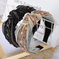 Boutique Vintage Bow Knot Hairband Women Girl Hair Head Hoop Band Headband Accessories For Women Embroidery Headdress Headwear