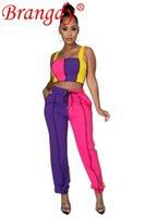 Оптовые товары насыпные лоты повседневные спортивные жилет двух частей набор женской одежды сексуальная мода твердый урожай верхние брюки наряды B6369 женские брюки