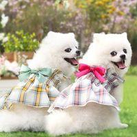 Cute Dog Apparel Princess Dogs Dresses Summer Plaid Puppy Skirt with Bow Small Medium Pet Dress Clothes XS-XXL