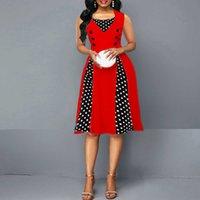 Oten 여름 드레스 우아한 빈티지 공 가운 꽃 폴카 도트 인쇄 50s Rockabilly Pin 위로 파티 대형 Clothe Robe 5XL 210608