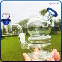 4.7 Inches Glass Round Bong Smoking Hookah Pipes Recycler Dab Rig Small Bubbler With 14mm Quartz Banger Nail Carb Cap Dome