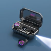 M12 Wireless Bluetooth TWS Earphones In-ear Stereo Headphones with Flashlight LED Display Microphone Handsfree for Car Sports Gaming Headphone