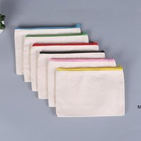 Sublimazione Blank Blank Bags Cosmetics Canvas Cerniera Pentola Casi Personalizzato Borsa da trucco Borsa per trucco Borsa Borse DHC7152