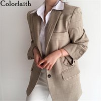 Colorfaith New 2021 осень зима женские пиджаки клетки клетки Кнопки карманы куртки клетчатые старинные модные дикие вершины JK35111