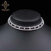 Collana di cristallo di cristallo Donne Collana Diamante Strass Silver Silver Plated Bridal Bridal Party Collar Chain Jewelry Chokers