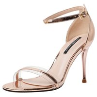 Zapatos de vestir japandeado de cuero oro / plata tacones altos sandalias mujeres estrecha banda clara tobillo correa gladiador sandalias damas boda