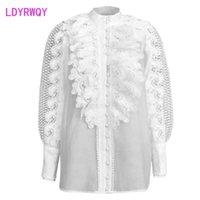 [Ldyrwqy] Weiße süße schwere Spitze Hohl langärmliges Einreiher-Hemd Frauen Polyester Büro Lady 210416