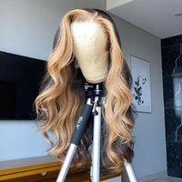 Lace Wigs Highlight Wig Human Hair Pre Plucked Body Wave Front Blonde Brazilian Virgin Bleached Knots200% Density