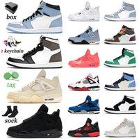 nike air jordan retro 1 1s off white 2021 Calidad superior con zapatos de baloncesto Caja 1 1s Mens Womens Jumpman University Blue White Twist Seafoam Entrenadores Zapatillas