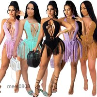 Women Party Dresses 2021 summer new Designer Fashion women's long tassel woven two-way short tassel beach skirt Solid color Slim Short skirt meet0808