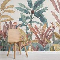 Banana personalizzata foglia carta da parati su tela stampa tropicale pioggia foresta foresta sfondo murale decorazione domestica 3d photo carta da parati