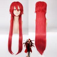 أسود بتلر grell sutcliff تأثيري الباروكات الأحمر طويل مستقيم مقاومة للحرارة الباروكة الاصطناعية + غطاء الشعر