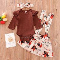 Clothing Sets Infant Baby Girl Clothes Thanksgiving Long Sleeve Bodysuit +Turkey Straped Skirts+Headband Outfits Set Kids Dress