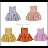 Dresses Baby, Kids & Maternity Drop Delivery 2021 Pudcoco Summer Clothing Lovely Infant Baby Girls Dress Solid Sleeveless Button A-Line Mini