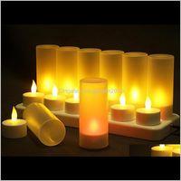 Mumlar 1 Set = 12 ADET Alevsiz LED Mum Şarj Edilebilir Tealight Gece Işık Doğum Günü Düğün Dekorasyon Parti Yemeği Dekor Ykw1y Rmpvy