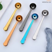 Stainless Steel Coffee Measuring Spoon With Bag Seal Clip Multifunction Jelly Ice Cream Fruit Scoop Spoons Kitchen Accessories